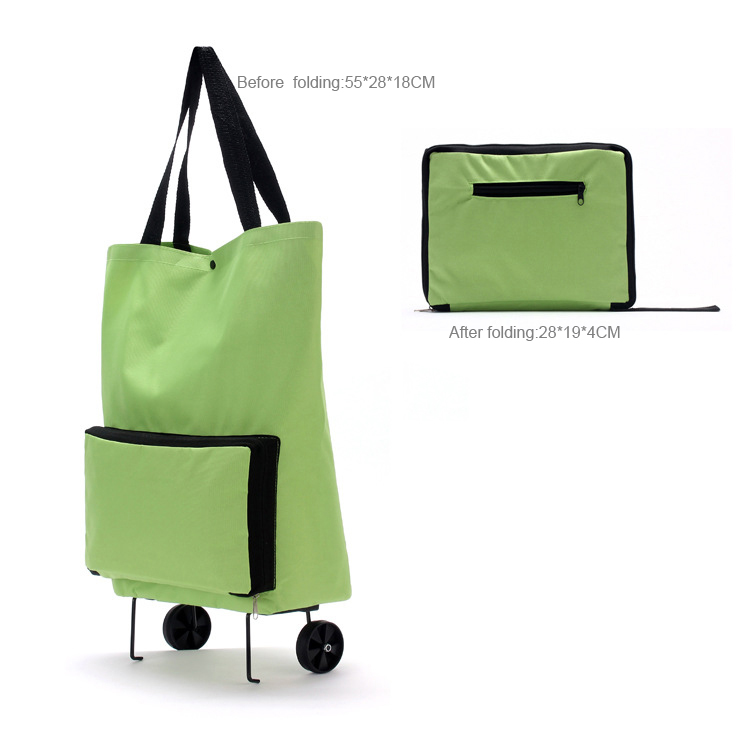 <strong>Eco</strong> friendly polyester reusable foldable trolley bag supermarket for shopping