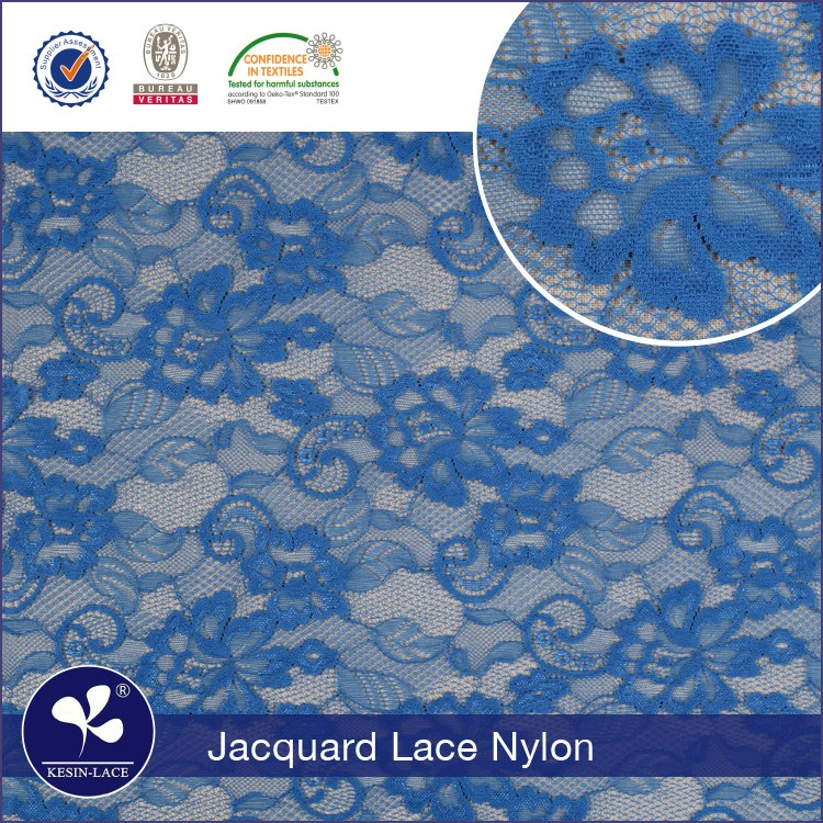 2017 hot sell nylon cationic jacquard raschel royal blue lace fabric