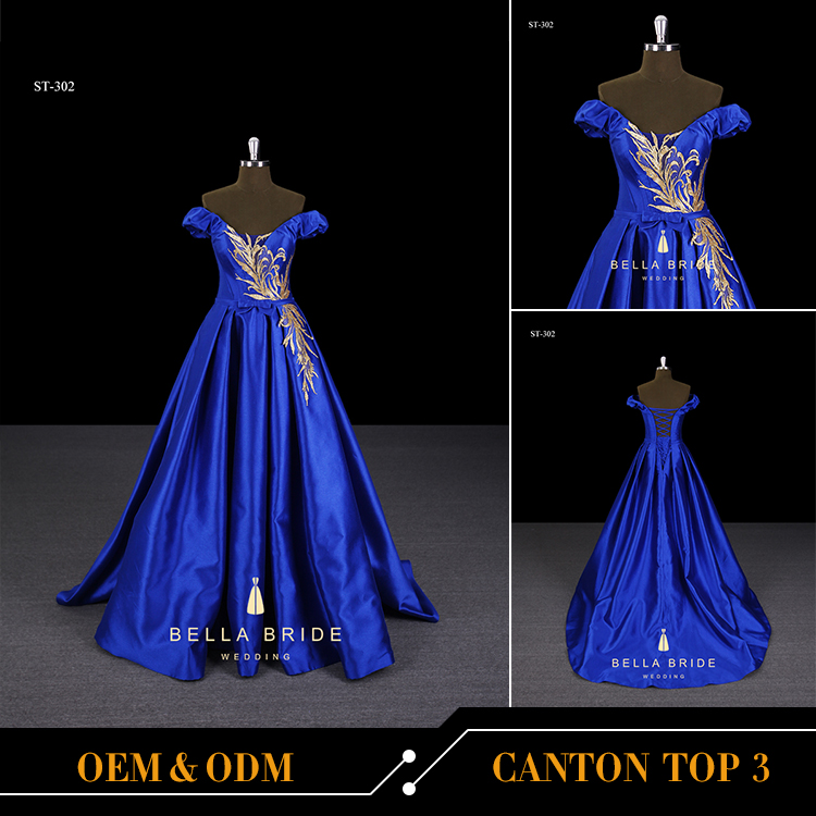 The latest formal evening dress sash royal blue ball gown evening gowns for lady