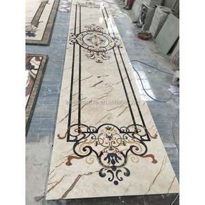 Natural marble luxury residence flower waterjet inlay corridor floor tiles pattern design