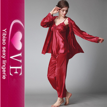 3 Pcs Satin And Robe Ladies Home Wear Wholesale Family Pajamas