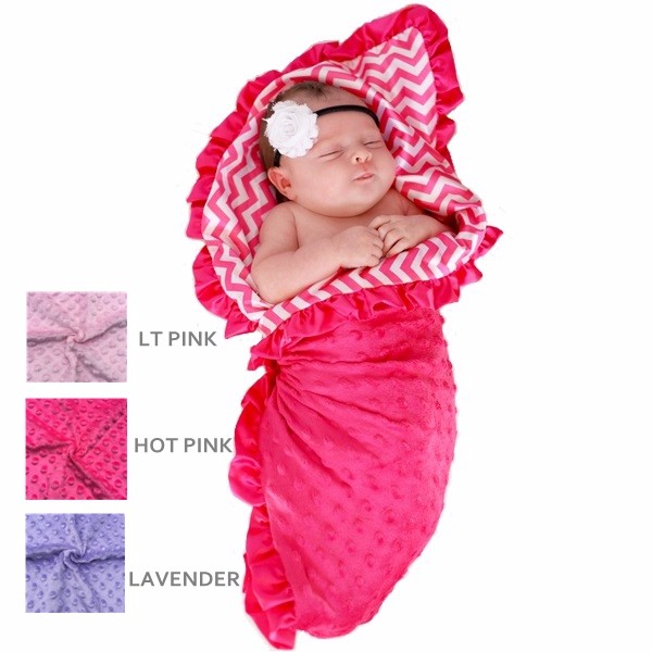 New Coming Soft Minky Material Baby Girl Ruffle Receiving Blanket