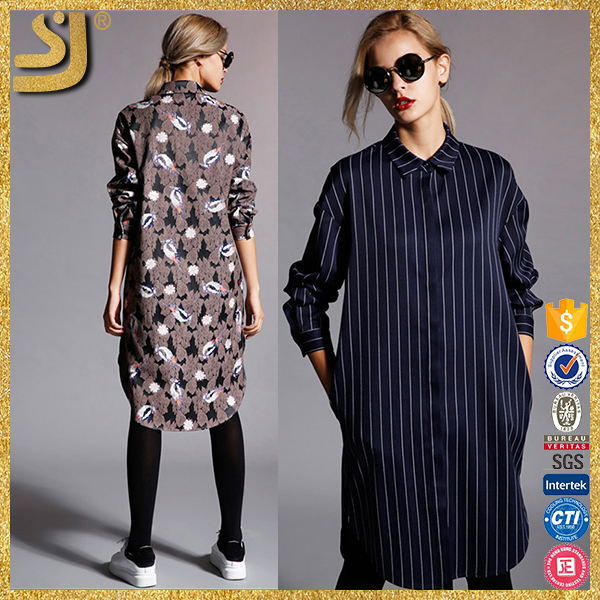 Factory price black colorful casual women long shirt dress