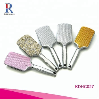 Hot selling multi color shiny crystal paddle hair brush