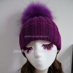 Lady Real Racoon Fur Pom Pom Wool Knit Winter Bobble hat cap Beanie Ski Women Gift Rose Red Gray white Black Purple