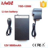 2015 Wholesales YSD-12980 black 9800mAh rechargeable 12 volt portable Li-ion polymer 12v lithium ion battery