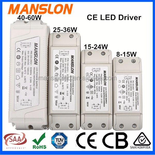 High PFC waterproof IP67 60W 100W CE approval LED driver 36V constant current 1300mA 3000mA LED power supply