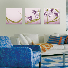 Customized Modern Wall Art Fabric Lily Flower Canvas Group Paintings for Home Decoration