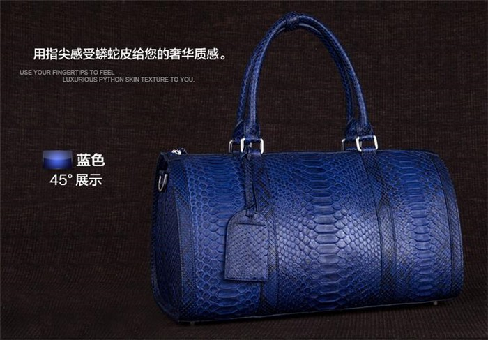 Updated new fashion mens genuine python snake skin leather weekend travel duffle bag_10