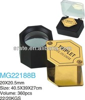 MG22188B 20X20.5mm Gold Hexagonal Optical Glass Jewelry Loupe