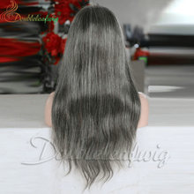 8A grade 24 inch grey hair natural wave brazilian human full lace wigs