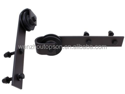 Black Antique Style Steel Sliding Barn Door Hardware Rustic Wood Door System