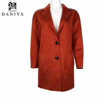 YMYD-7703 Fall/Winter Woman Ladies Shearling Coats Suede Leather Jackets Plus Size Long Coat Thick Wool Coat Top Custom Windbrea