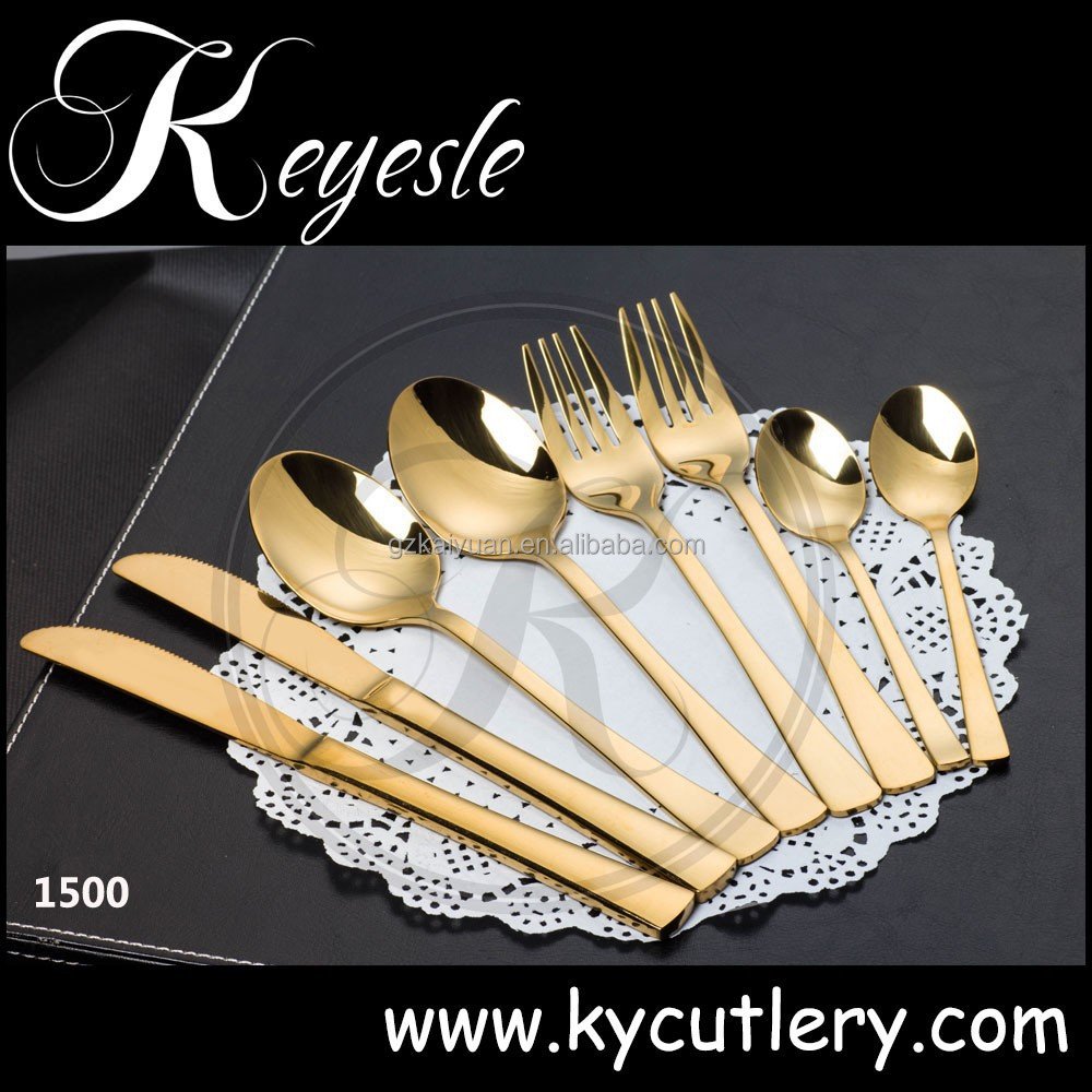 gold steel knife,gold plated flatware 18/10,gold cutlery set stainless steel