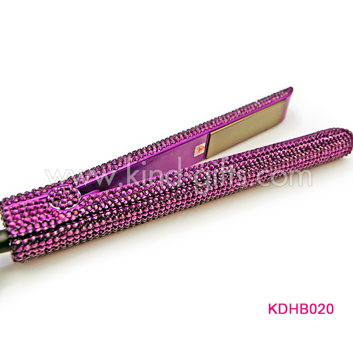 Deluxe Diamond Studded Brown Rolling Crystal Hair Straightener And Curling Iron