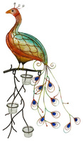 Colorful Metal Peacock with Glass Candle Holder Wall Hanging 30 In. for Home Garden Or Office Deco