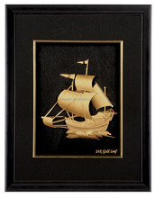 Best Promotional Gifts 24k Gold Picture Ship 3d Gold Foil Picture Pure Gold 999