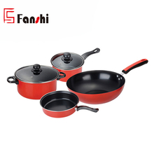 6pcs Red Ceramic Coating Non-stick Cookware Set With Wok And Saucepot And Fry Pan And Milk Pan