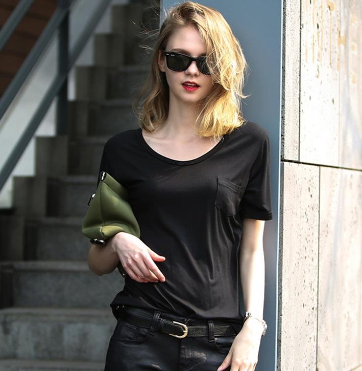 new model girls plain black scoop round neck tshirt100