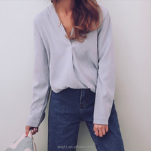 Korean V collar female simple pure shirts long sleeved loose blouse for young ladies