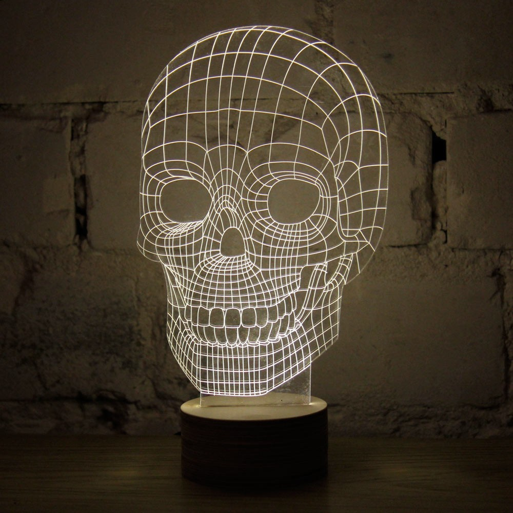 Nightlight personalized gift super white skull decorated Corps 3D Vision Lamps Strange new light