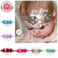 Elastic Headbands with rhinestone ribbon lace flower baby girl hair accessory infant rose hairbands headwear 582