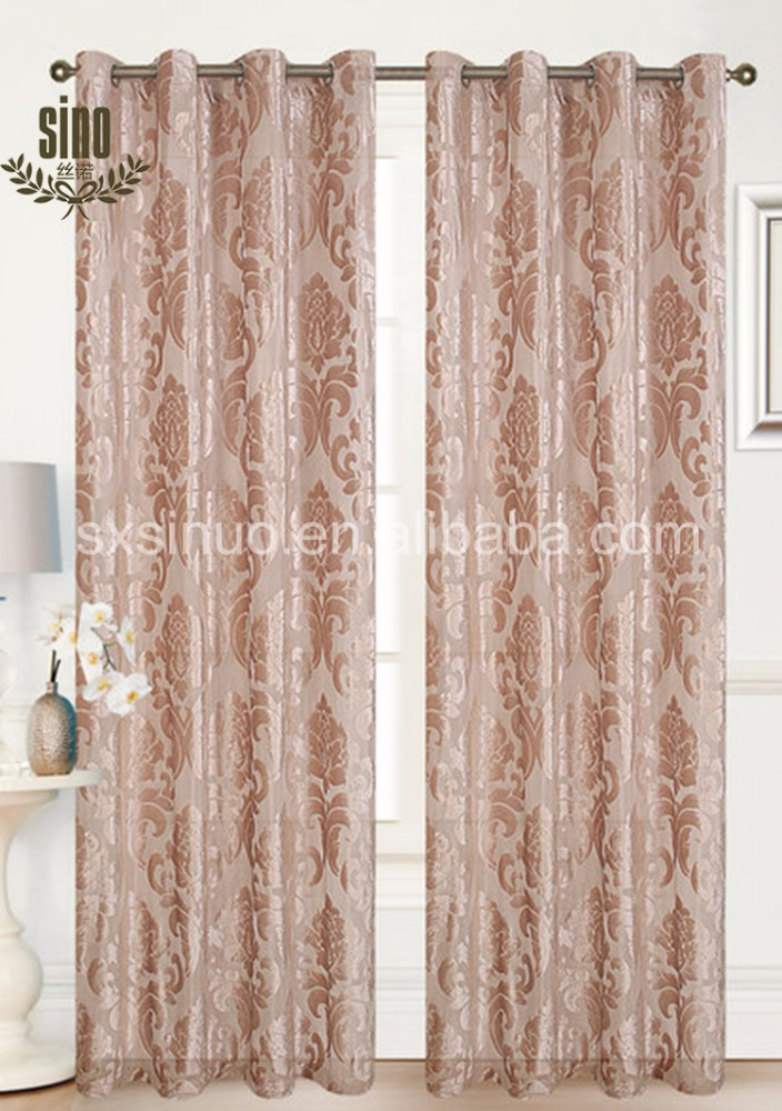 Custom Color good quality luxury embroidered jacquard curtain