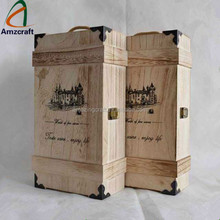 Cheap Rustic 3 Bottle Wooden Wine Gift Box with Bronze Clasps