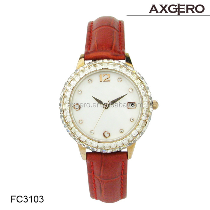 2015 popular leather diamond watch for ladies