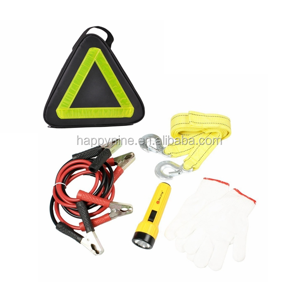 Towing Belt Rope Jumper Cable Torch Glove Car Road Emergency Kit Auto Emergency Kit
