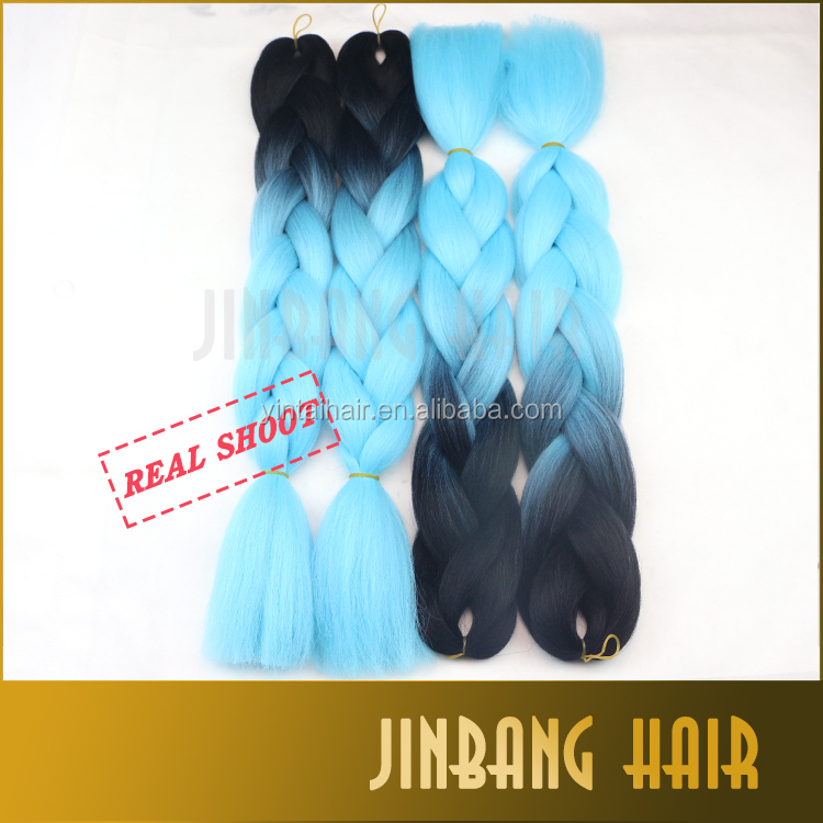 24inch black light blue Ombre Two Tone Jumbo Braiding Synthetic Hair For Dreadlocks Crochet Box Braids Twist