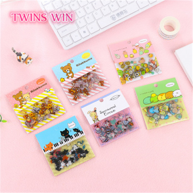 2019 new arrival kawaii animals pvc wholesale stickers for kids <strong>101</strong>