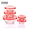 Hot sale blue storage fresh bowl set with lid stackable 5pcs glass bowl set