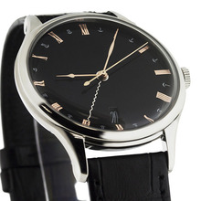 Rose gold metal index markers black face stainless steel mens watch excellence quartz with leather strap