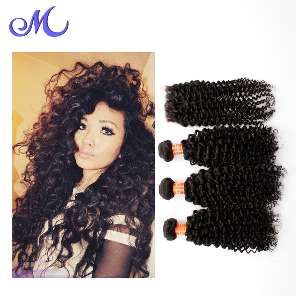 7a Mink Rosa Brazilian Curly Virgin Hair With Closure Wet And Wavy Virgin Brazilian Hair With Closure Lace Closure With Bundles
