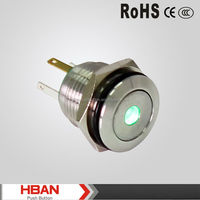 HBAN TUV UL CE ROHS Flat round pin terminal with the dot illuminated led metal pushbutton switch