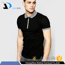 Daijun oem fashion new design men 100% cotton custom logo black zipper collar polo shirt