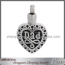 DAD Always In My Heart Cremation Ash Jewelry Fashion 316L Stainless Steel Hollow Out Memorial Memory Urn Pendant to Put Ash