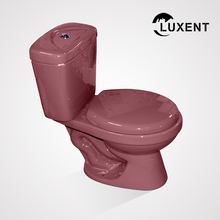 High Quality Color Glazed Wine Red S-Trap Siphonic Top Button Two Piece Toilet