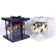 Hot Sale Clear Plastic Preserved Bouquet Square Delivery Gift Packaging Box for Flowers with Ribbon Handle