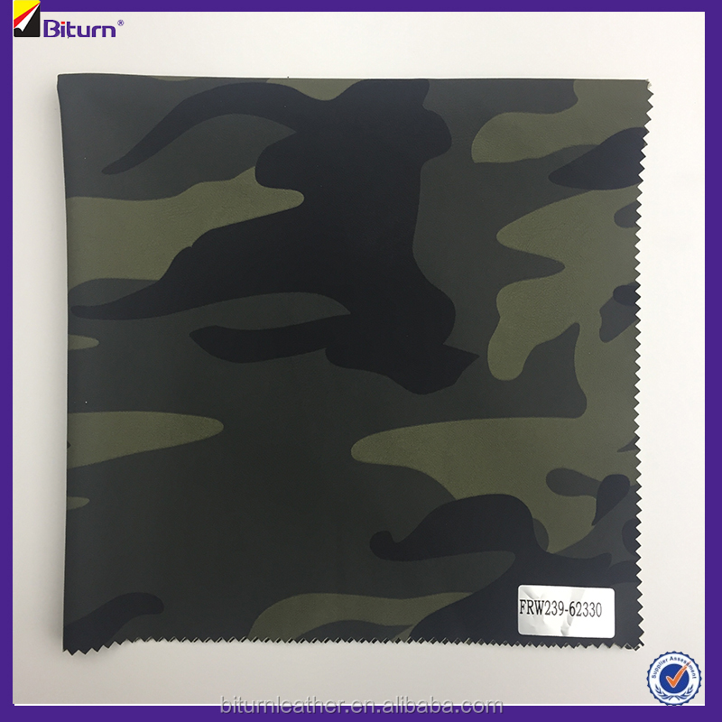 Fujian camouflage pu fake leather for making clothes