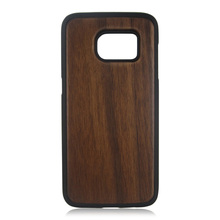 PC bottom TPU rim wood case single bottom wooden case <strong>protective</strong> back covers for Samsung S7