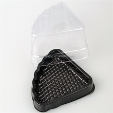 Food grade disposable plastic blister triangle sandwich cake box,plastic clamshell cake packaging box,
