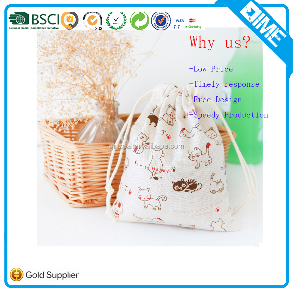 Wholesale Cheap Small Importer Shopping Drawstring Bag/Jute Pouch Bag