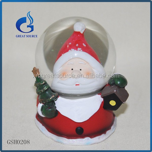 led decorative resin christmas santa claus snow globes