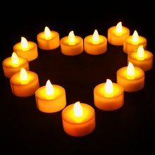 12pcs/pack Xmas Party Propose Holiday Wedding Safety Candles Flickering Flameless LED Tealight Flicker Tea Battery Candle Light