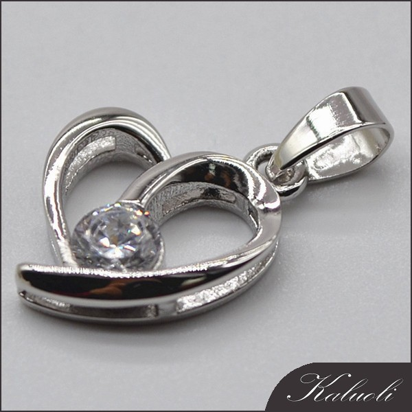 Wholesale heart shape 2015 fashion zircon silver jewelry
