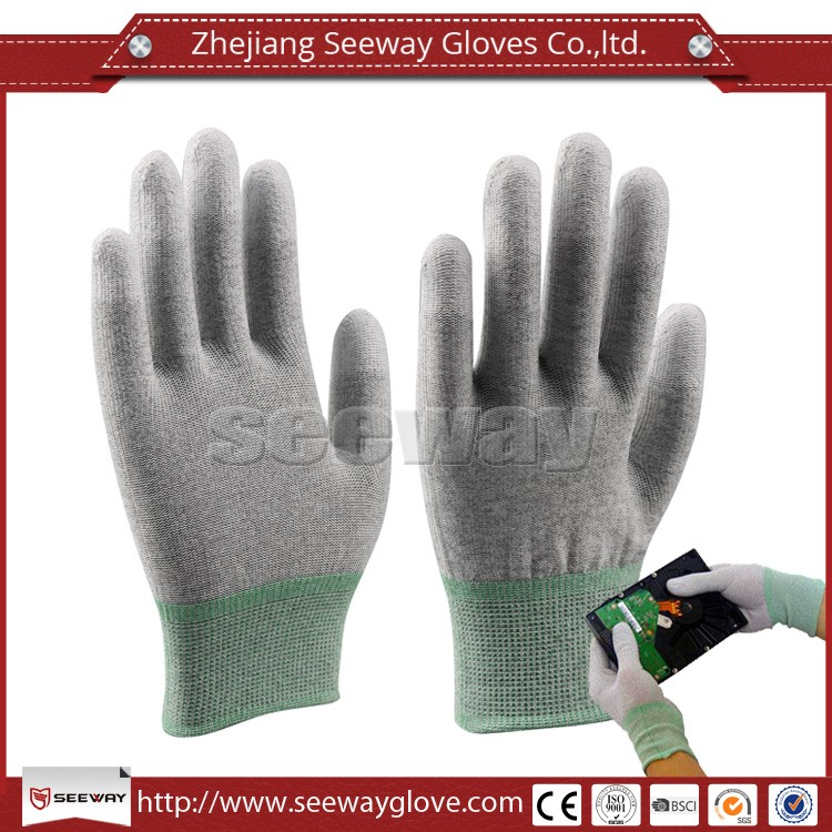Seeway 13 Gauge Seamless Knitted Carbon Fiber ESD Hand Gloves For Electronics Working