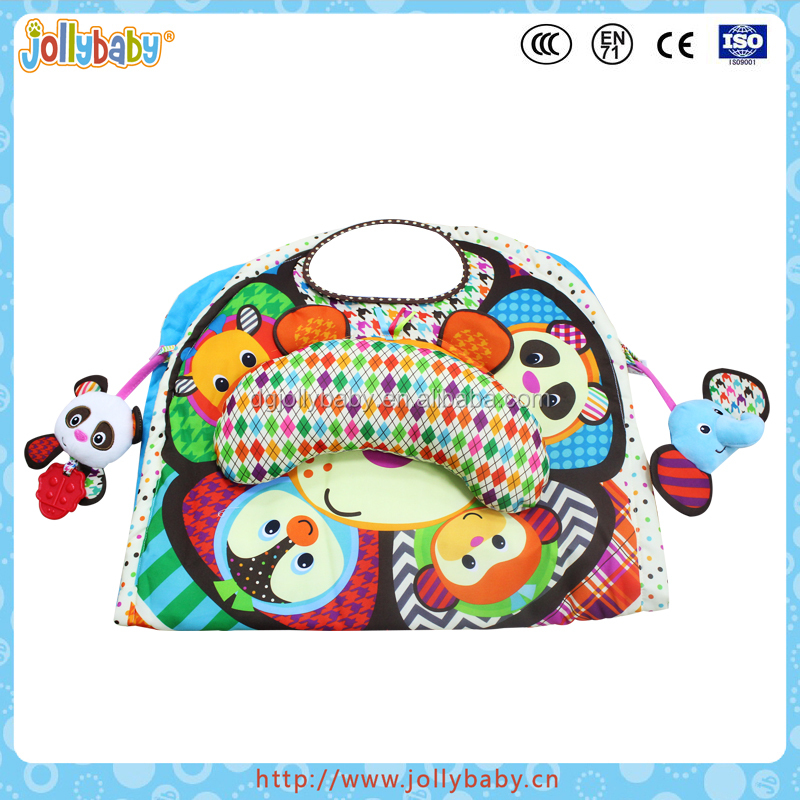 Australian Jollybaby Portable Multi Functional Baby Washable Play Gym With Mirror And Plush Animal Toys