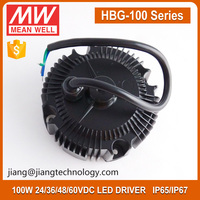 100W 24V Round Site DC LED Driver IP67 Rated PFC Function Meanwell HBG-100-24B For LED Highbay Light